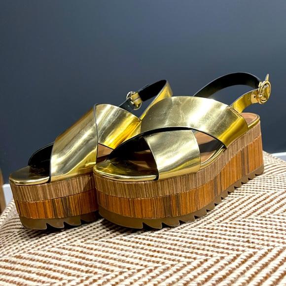Mirrored gold platform sandals from Zara